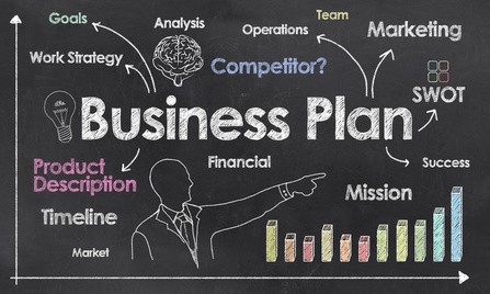 Business Plan with Creative Businessman showing Positive Growth